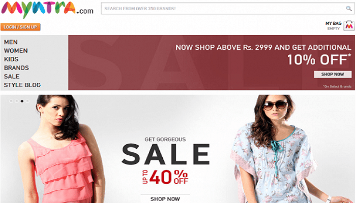 Myntra Coupon Codes Homepage