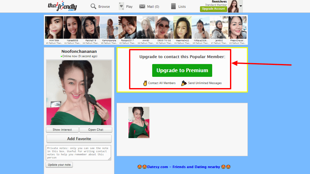Upgrade Profile to join popular member - thaifriendly website